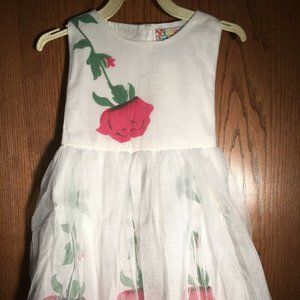WHITE AND ROSES NEW DRESS SIZE 2T CUTE DRESS